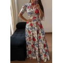 Retro Fancy Women's Short Sleeve Crew Neck Hollow Out Front All Over Floral Print Maxi Pleated A-Line Dress