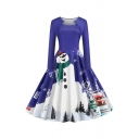 Retro Fancy Ladies Long Sleeve Asymmetric Neck Snowman Pattern Maxi Pleated Swing Christmas Dress