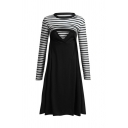 Leisure Cozy Women's Long Sleeve Crew Neck Stripe Printed Panel Nursing Long Pleated A-Line Dress
