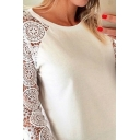 Sexy White Long Sleeve Crew Neck Lace Panel Loose Fit T-Shirt for Women