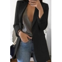 Formal Elegant Ladies' Long Sleeve Notched Collar Long Plain Slim Fit Work Blazer