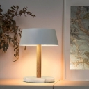 Contemporary 1 Bulb Task Lighting White Flared Night Table Lamp with Metal Shade
