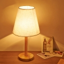 Modernist 1 Bulb Task Lighting Wood Conical Night Table Lamp with Fabric Shade