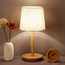 White Barrel Task Lighting Modernism 1 Head Fabric Small Desk Lamp with Wood Base