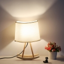 Contemporary 1 Head Task Lighting White Pagoda Small Desk Lamp with Fabric Shade
