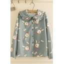 Blue Trendy Long Sleeve Peter Pan Collar Button Down All Over Rabbit Printed Stringy Selvedge Relaxed Fit Shirt for Girls