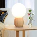 White Glass Spherical Nightstand Lamp Modernist 1 Head Reading Book Light in Wood
