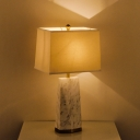Fabric Trapezoid Task Light Contemporary 1 Head White Small Desk Lamp with Marble Base