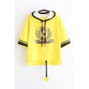 Designer Girls' Yellow Three-Quarter Sleeve Drawstring Lion Pattern Contrasted Relaxed Fit Ears Hoodie Tee with Tail