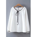 Chic White Long Sleeve Round Neck Bow Tie Front Contrast Piped Loose Fit Blouse Top for Women