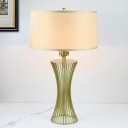 Green Drum Table Light Modernism 1 Bulb Fabric Small Desk Lamp with Curved Metal Base