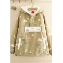 Casual Fashionable Long Sleeve Half Zipper All Over Cartoon Printed Sherpa Liner Patchwork Oversize Parka Coat in Green