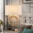 Fabric Oval Task Lighting Contemporary 1 Head Gold Reading Lamp for Living Room