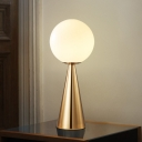 Milky Glass Ball Table Lamp Modern 1 Head Desk Light with Tapered Gold Metal Base