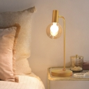 1 Head Living Room Table Light Minimalist Gold Desk Lamp with Globe Smoke Gray/Clear Glass Shade