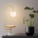 Curved Arm Task Lighting Modern Metal 1 Head Wood Reading Lamp with White Glass Shade