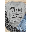 Casual Women's Short Sleeve Crew Neck Letter CINCO Printed Spaceship Print Slim Fit Shirt in Gray