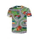 Popular Men's Short Sleeve Crew Neck Game Patterned Slim Fit T-Shirt in Gray