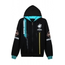 Fashionable Boys' Black Long Sleeve Zipper Front Letter Geometric Graphic Contrasted Relaxed Hoodie