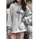Korean Style Girls' Long Sleeve Drawstring Letter WEAR Loose Fit Hoodie