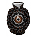 Fashionable Guys Long Sleeve Drawstring Dizzy 3D Patterned Pouch Pocket Loose Hoodie
