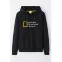 Cool Long Sleeve Drawstring Letter NATIONAL GEOGRAPHIC CHANNEL Geo Graphic Loose Fit Hoodie for Guys