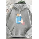 Korean Girls Long Sleeve Drawstring Cartoon Cats Graphic Pouch Pocket Loose Hoodie
