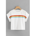 Stylish Girls Roll Up Sleeve Crew Neck Rainbow Patterned Relaxed Cropped T Shirt