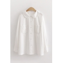 Leisure White Long Sleeve Peter Pan Collar Button Down Pockets Relaxed Fit Shirt for Ladies