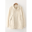 Womens Fashionable Long Sleeve Lapel Collar Zipper Front Flap Pockets Plain Relaxed Fit Jacket