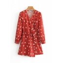 Fancy Ladies Long Sleeve Surplice Neck All-Over Floral Patterned Bow Tie Waist Short A-Line Wrap Dress in Red