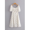 Cute Girls Short Sleeve Square Neck All Over Floral Printed Long A-Line White Dress