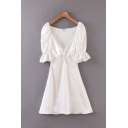 Amazing Girls Ruffled Sleeves V-Neck Twist Front Ruched Silk Short A-Line Gown Dress in White