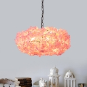 Metal Black Flower Drop Lamp Round 1 Head Industrial LED Down Lighting Pendant for Restaurant