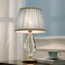 1 Head Droplet Desk Light Contemporary Faceted Crystal Night Table Lamp in Light Blue