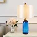 Modern Bottle Reading Light Blue Hand-Cut Crystal 1 Bulb Bedside Nightstand Lamp
