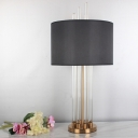 Fabric Drum Task Lighting Modernist 1 Head Reading Lamp in Black with Metal Base
