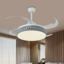 8-Blade Grey Drum Semi Flush Lighting Minimalism Metallic LED Pendant Fan Lamp for Living Room, 42