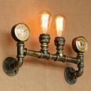 Brass 2-Bulb Sconce Light Fixture Antiqued Iron Pipe and Gauge Wall Mounted Lamp for Stair