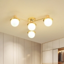 Metallic Radial Flush Mount Light Modern 4 Bulbs Flush Ceiling Lamp Fixture in Brass