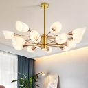 16 Heads Living Room Chandelier Modernism Gold Pendant with 2-Tier Flower White Frosted Glass Shade