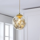 Contemporary Ball Hanging Lamp Clear Glass 1 Bulb Bedroom Ceiling Pendant Light in Yellow with Inner Shattered Leaves Decoration