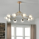 10 Heads Living Room Ceiling Chandelier Modernism Gold Branch Pendant with Orb Clear Glass Shade