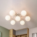 Silver Global Flush Lighting Modernism 7 Bulbs Frosted White Glass Semi Flush Mounted Lamp with Twisted Arm