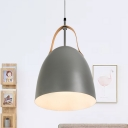 Metal Dome Hanging Lighting Minimalist 1-Light Green/White/Grey Finish Suspension Pendant Lamp with Leather Strap