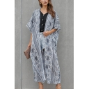 Trendy Ladies Bell Sleeve All Over Floral Printed Long Oversize Cardigan