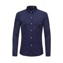 Simple Mens Long Sleeve Lapel Collar Button Down Zipper Detail Slim Fit Plain Shirt