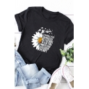 Pretty Ladies Roll-Up Sleeve Crew Neck Letter Sunflower Printed Relaxed T Shirt