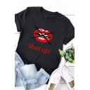 Korean Girls Roll Up Sleeve Crew Neck Letter SHUT UP Mouth Graphic Relaxed Tee