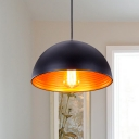Dome Bar Drop Pendant Lamp Industrial Metal 1 Head White/Black Finish Hanging Ceiling Light